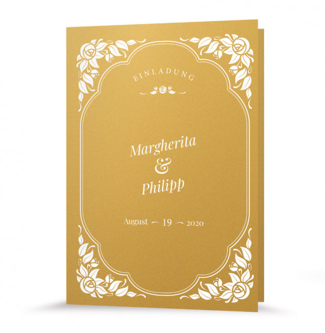"""Hochzeitseinladung """"Vintage Gold"""""""