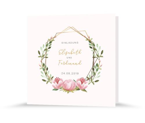 """Hochzeitseinladung """"Blütenkranz"""""""